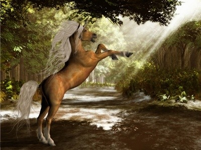 Hippolyta the Unicorn in a Forest