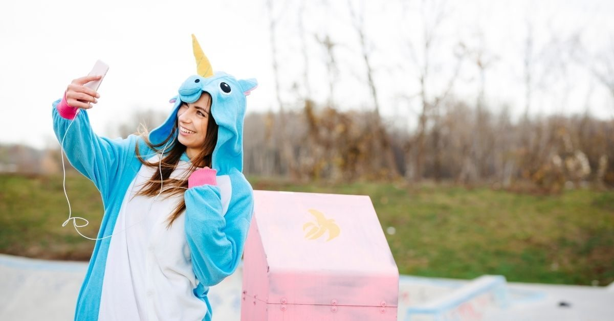 Are You a Unicorn_ - Woman in Unicorn Costume Takes a Selfie