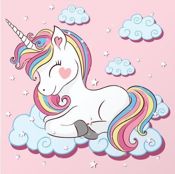 Cute Unicorn Pictures - Rainbow Unicorn Sleeping on Cloud