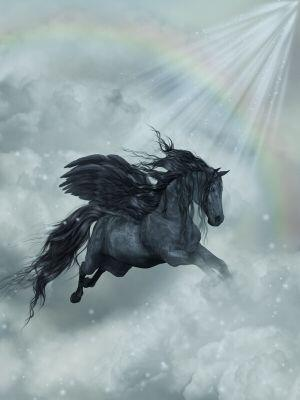 Pegasus Names - Black Pegasus in Clouds