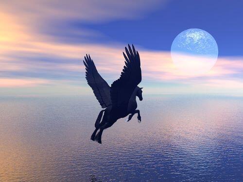 Pegasus Flying at Full Moon