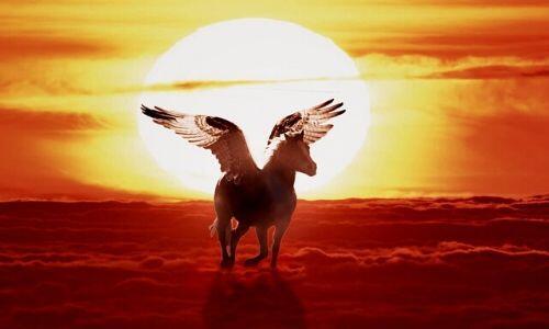 Pegasus Flying by Sunset