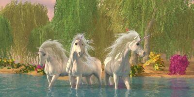 3 White Unicorns in Water