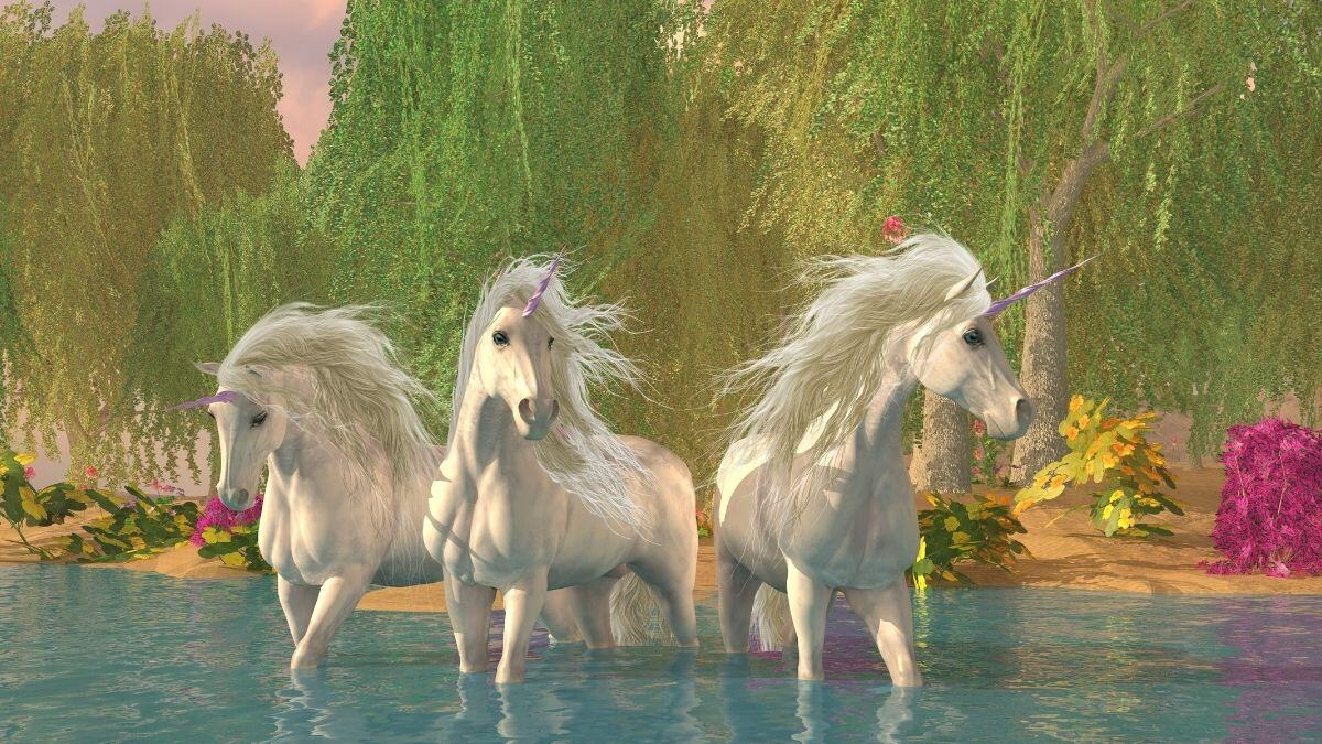 Unicorn Life Lessons - 3 Unicorns in Water